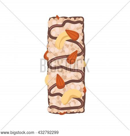 Cereal Muesli Bar With Cashew Nuts And Almonds Decorated With A Caramel Pattern. Sports Nutrition. V