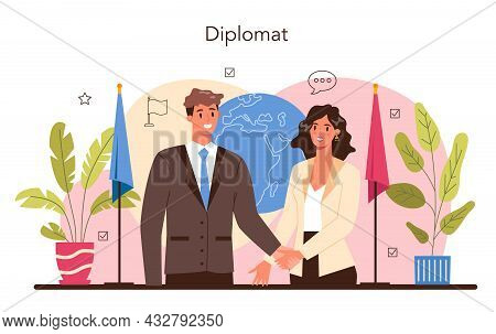 Diplomat Profession. Idea Of International Relations And Government.