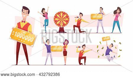 Prize Winner. Characters Won In Lottery Tickets Money Ticket Prizes Persons In Casino Exact Vector I