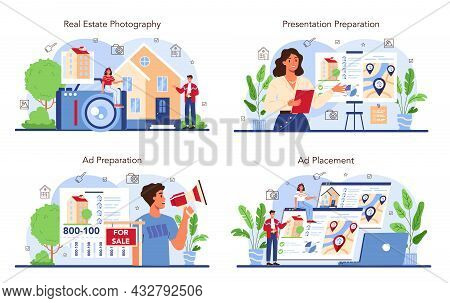 Real Estate Industry Set. Property Selling Advertising, Apartment Rent Advert