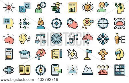 Concentration Of Attention Icons Set Outline Vector. Goal Focus. Manage Time