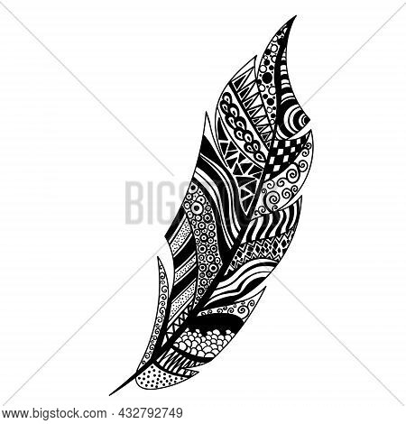 Black And White Feather Vector. Peerless Decorative Feather, Patterned Design, Tattoo