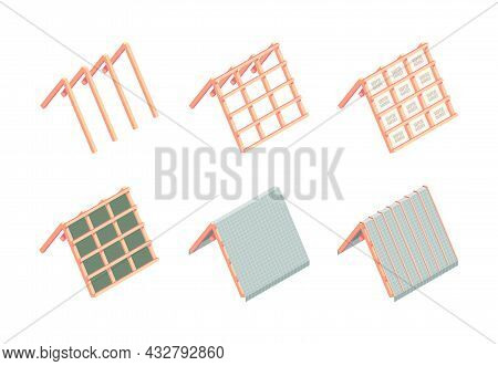 Roofing Construction. Building Stages Various Materials For Roofing Ceramic Wood Flexible Thermal Ti