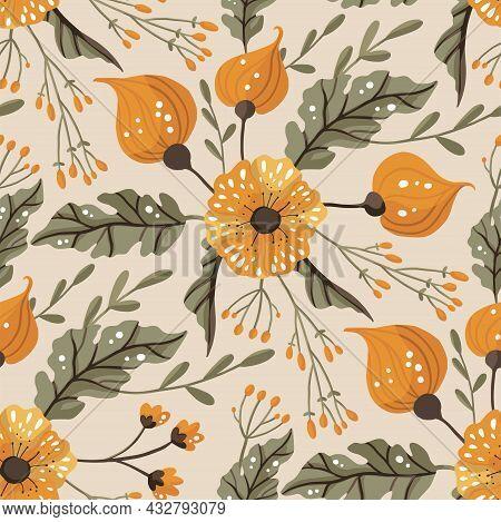 Seamless Pattern With Flower. Vector Ornate Vintage Illustration. Detailed Floral Ornament. Boho Bot