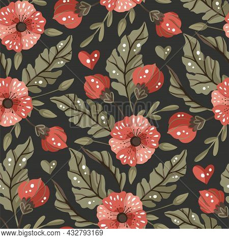 Seamless Pattern With Flower On Black Background. Vector Ornate Vintage Illustration. Detailed Flora