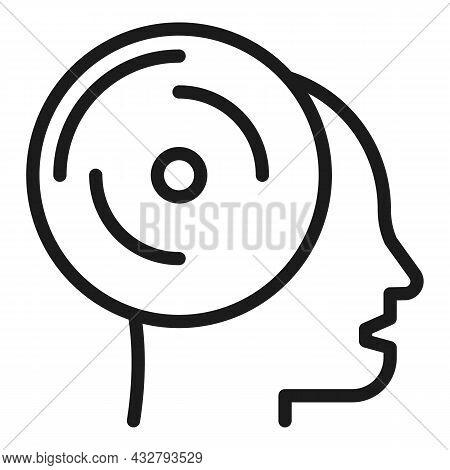 Head Memory Save Icon Outline Vector. Creative Brain. Human Mind