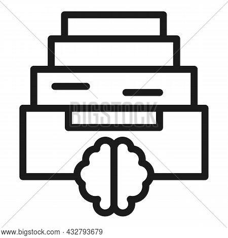 Memory Shelf Icon Outline Vector. Brain Frame. Head Mind