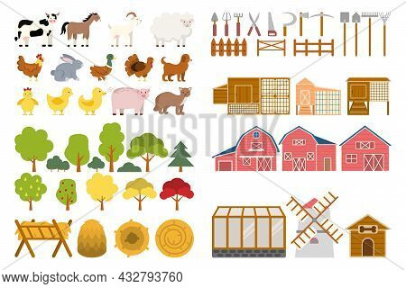 Farm Set. Agriculture Tools And Utensils For Growing Plants And Feeding Animals.