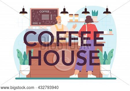 Coffeehouse Typographic Header. Bartender Making A Cup Of Hot Coffe