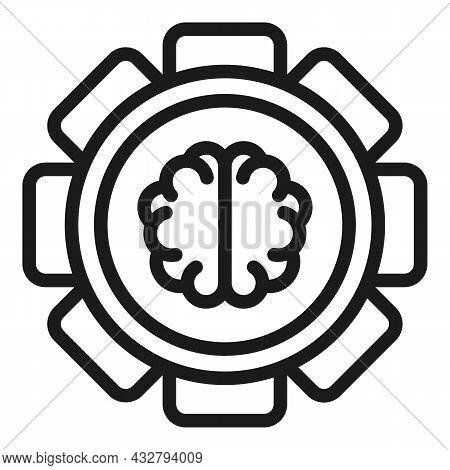 Engine Brain Icon Outline Vector. Gear Head. Creative Power
