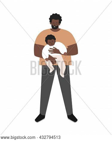 Vector Isolated Flat Illustration. African American Single Father Is Smiling, Holding In His Arms Li