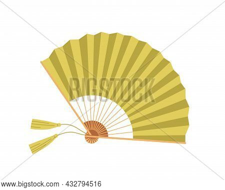 Japanese Paper Hand Fan With Fringe And Bamboo Decor. Asian Traditional Souvenir, Folding Object. Or