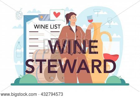 Wine Steward Typographic Header. Sommelier With A Glass Full