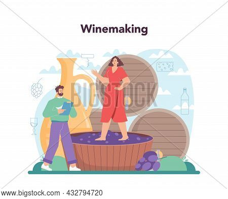 Wine Maker Concept. Grape Wine In A Wood Barrel, Bottle Of A Red Wine