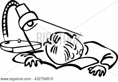 The Boy Fell Asleep On His Desk While Doing His Homework. The Light Is On, His Head Is Resting On A