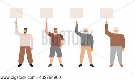 Vector Isolated Flat Set With Picket And Strike Of Caucasian Guys Holding Posters With Copy Space Fo