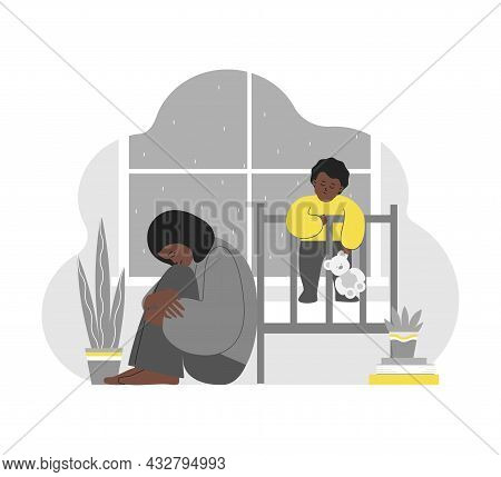 Vector Flat Isolated Concept. Tired African American Mother Sits, Hugs Knees. She Has Difficulties T