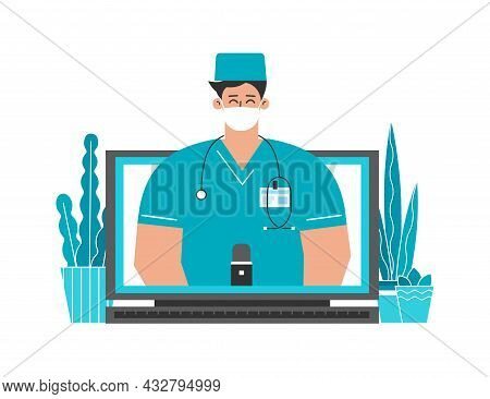 Vector Isolated Flat Concept About Healthcare. Online Consultation By Doctor Via Video Call On Compu