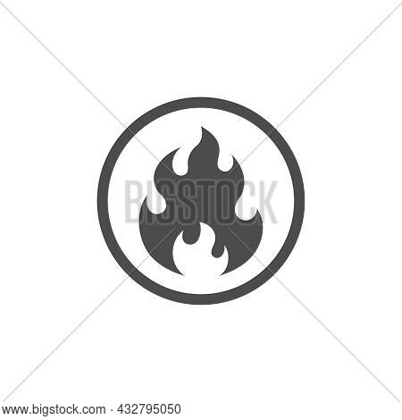 Fire Warning Attention Graphic Icon. Dangerous Flame Sign In The Circle Isolated On White Background