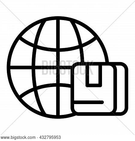 Global Shipment Icon Outline Vector. Export Service. Delivery Box