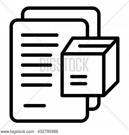 Parcel Files Icon Outline Vector. Delivery Box. Package Shipment