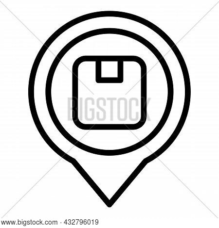 Package Location Icon Outline Vector. Cargo Distribution. Shipping Service