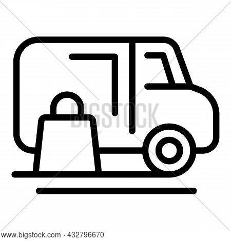 Delivery Van Icon Outline Vector. Truck Shipping. Package Shipment