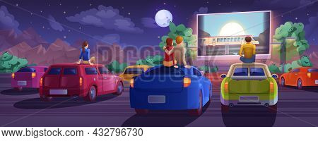 Cartoon Outdoor Drive-in Cinema. Car Movie Theater In Open Air With Loving Couple, Lonely Boy And Gi