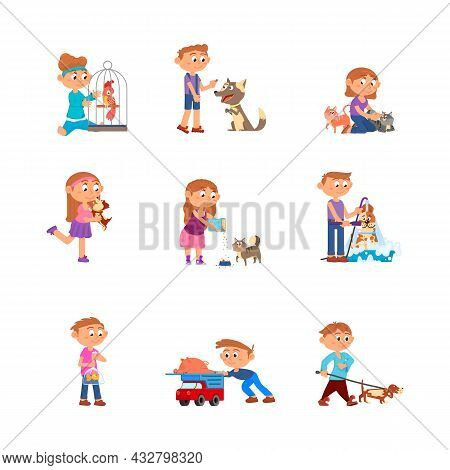 Children And Pets. Kid With Pet, Child Holding Pig And Bird. Toddler Care About Dogs And Cats, Carto