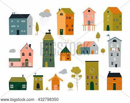 Cute Tiny Houses. Front Brick House, Cartoon Flat Buildings. Doodle Small Home, Trendy Scandinavian