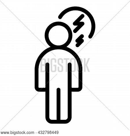Human Headache Icon Outline Vector. Brain Pain. Dizzy Anxiety