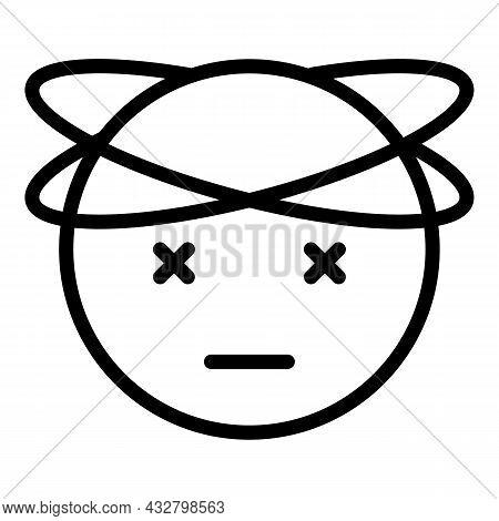 Dizzy Face Icon Outline Vector. Vertigo Mood. Dizziness Headache