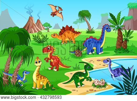 Dinosaur Prehistoric Landscape. Cartoon Baby Poster, Happy Animals And Volcano. Dino On Lake, Jungle