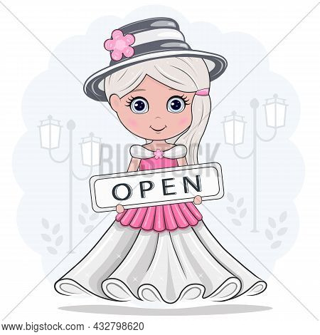 Vector Illustration Of A Girl, Come In, We Are Open, Isolated On A White Background.