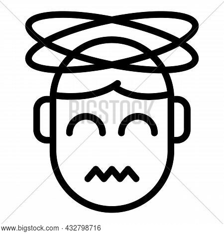Dizziness Head Icon Outline Vector. Dizzy Man. Vertigo Faint