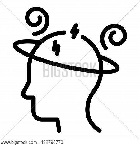 Dizziness Sick Icon Outline Vector. Dizzy Headache. Tired Man