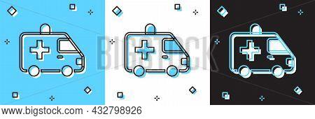 Set Ambulance And Emergency Car Icon Isolated On Blue And White, Black Background. Ambulance Vehicle
