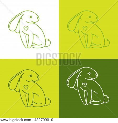 Not Tested On Animals Icon With Small Rabbit And Hart Shape. Green Background, Outline Illustration