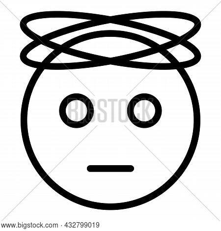 Flu Dizziness Icon Outline Vector. Dizzy Headache. Vertigo Disease
