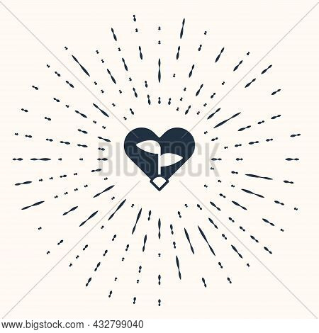 Grey Leaf In Heart Of Environmental Protection Icon Isolated On Beige Background. Seed And Seedling.