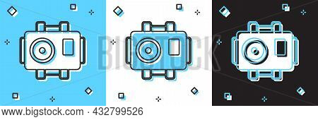 Set Photo Camera For Diver Icon Isolated On Blue And White, Black Background. Foto Camera Icon. Divi