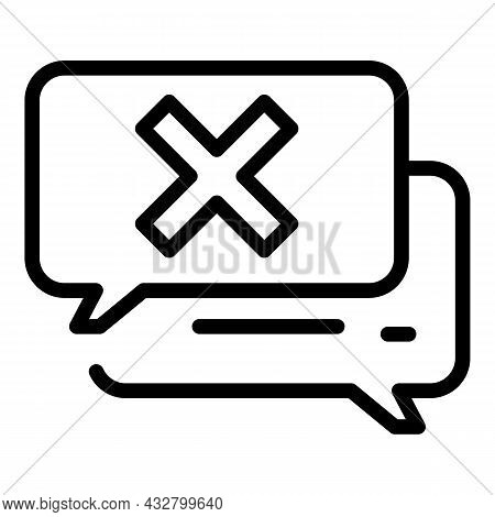 Stop Chatting Icon Outline Vector. Ban Speak. Avoid Chat