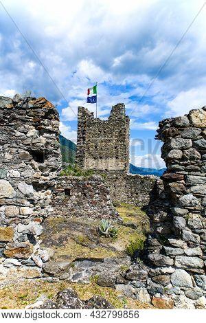 Ancient Ruins Of Castel Grumello In Valtellina