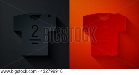 Paper Cut Football Jersey And T-shirt Icon Isolated On Black And Red Background. Paper Art Style. Ve