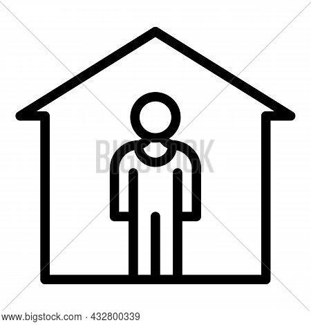 Stay Safe Home Icon Outline Vector. Virus Prevention. Pandemic Quarantine