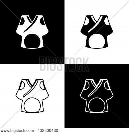 Set Kimono Icon Isolated On Black And White Background. Chinese, Japanese, Korean, Vietnamese Wearin