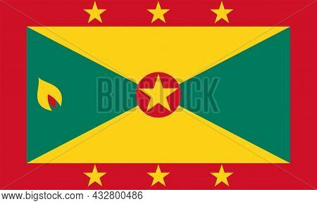 National Grenada Flag, Official Colors And Proportion Correctly. National Grenada Flag. Vector Illus