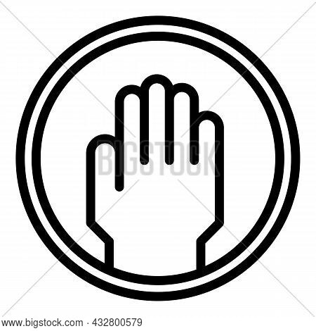 Touch Restricted Icon Outline Vector. Access Forbidden. Avoid Contact