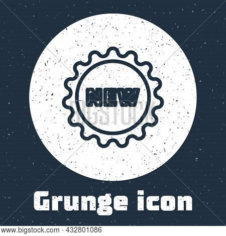 Grunge Line Price Tag With An Inscription New Icon Isolated On Grey Background. Badge For Price. Pro