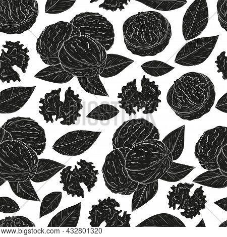 Walnut. Black Silhouette On White Background. Texture Seamless.